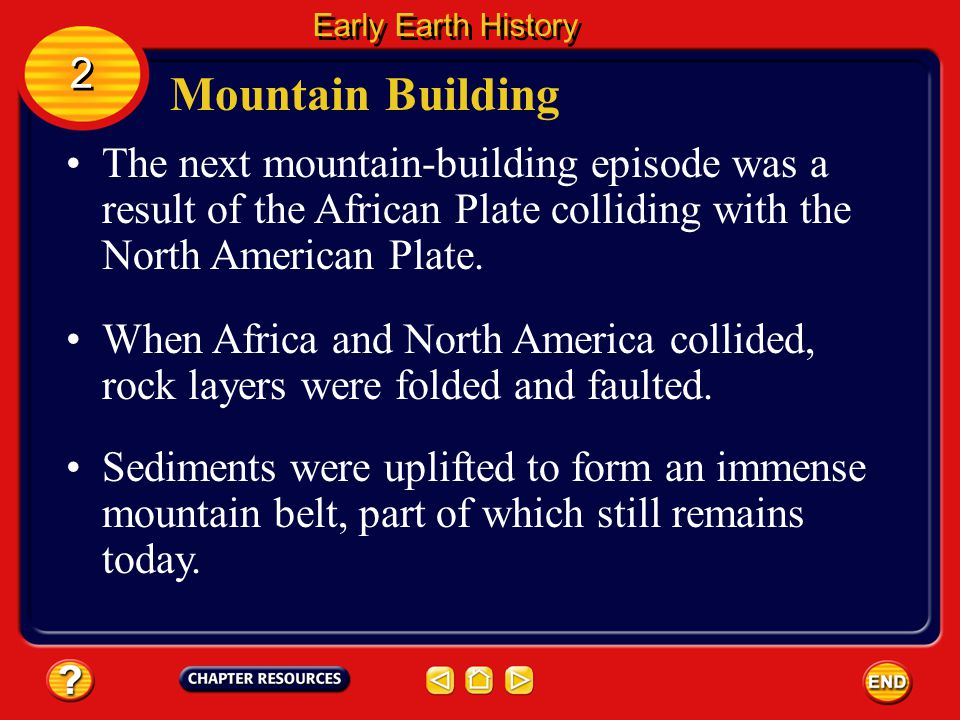 The first mountain-building episode occurred as the ocean separating North America from Europe and Africa closed.