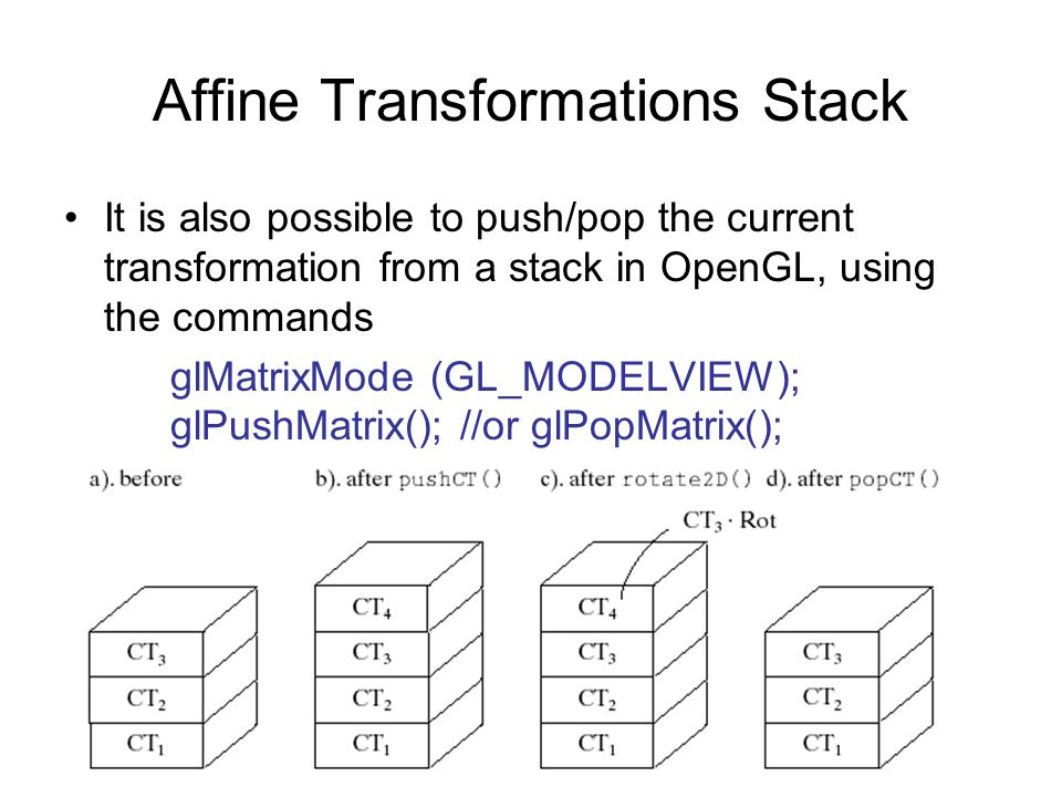 Affine Transformations Stack It is also possible to push/pop the current transformation from a stack in OpenGL, using the commands glMatrixMode (GL_MO