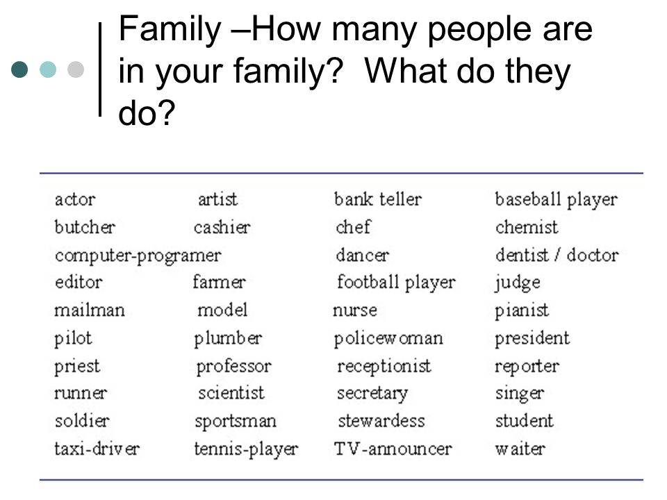 Family –How many people are in your family What do they do
