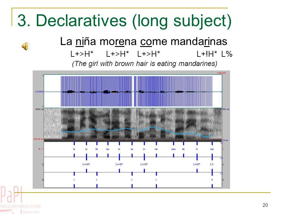 19 2. Declaratives Bebe una limonada (He drinks a lemonade) L+>H* L+!H* L%