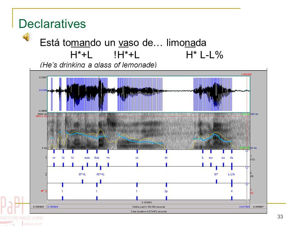 32 Combination of tones in declarative sentences Pre-nuclear tones Nuclear tonesEdge tones H*+L H* L*+H H*+H L* H* L-L% Typical configuration: %L H*+L !H*+L L* L-L%