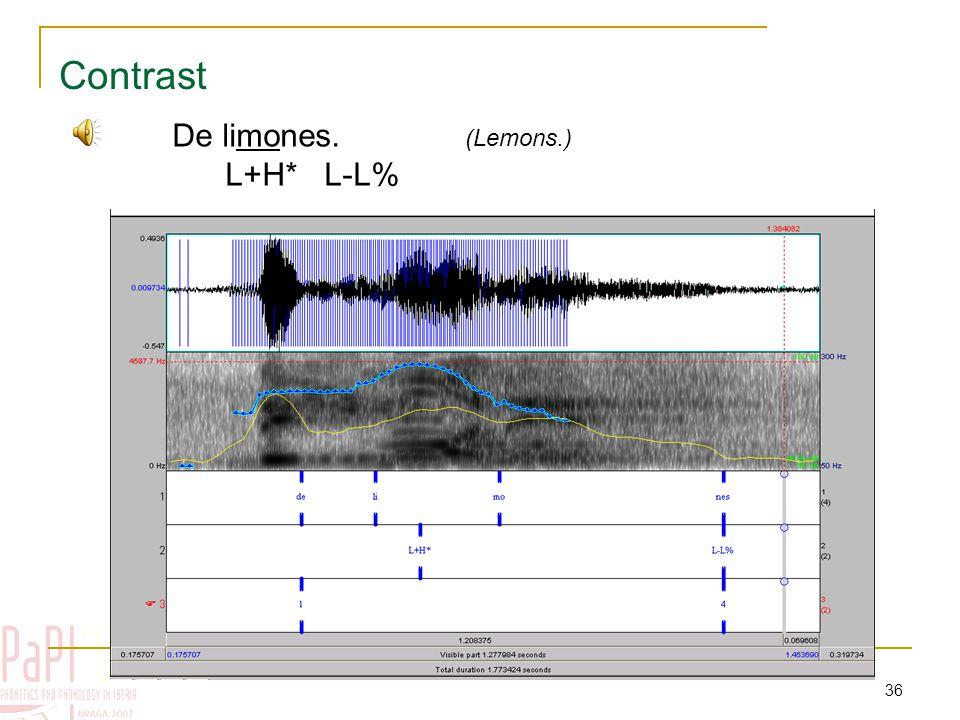 35 Contrast Pre-nuclear tones Nuclear tonesEdge tones H* H*+L (L-) (L-L%) L+H*L-L% Typical configuration: %L L+H* L-L%