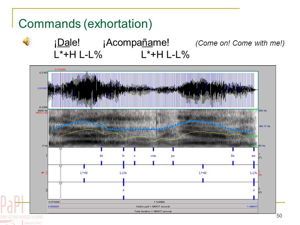 49 Exhortation Pre-nuclear tones Nuclear tonesEdge tones H* H*+L L*+H H*+L L-L% Typical configuration: %L L*+H L-L%