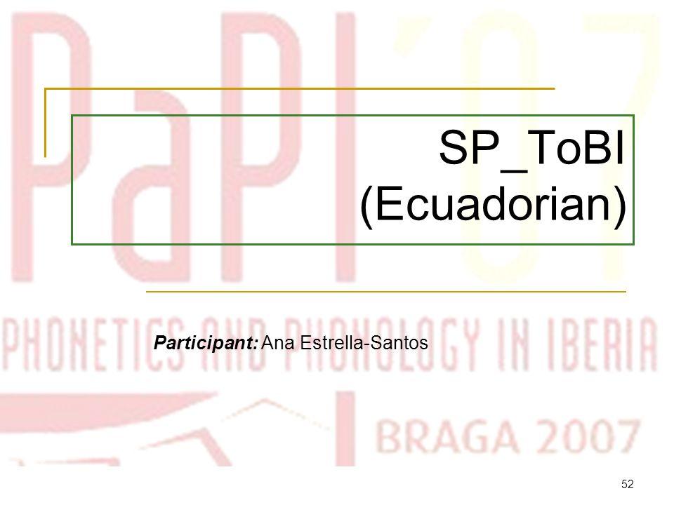 51 Typical combinations of tones in Buenos Aires Spanish SENTENCE TYPEPRE-NUCLEARNUCLEAREDGE TONES Declaratives H*+ LL*L- L% Contrast H*L+ H*L- L% Yes-no questions L*+ HL+ H*H- L% Disjunctive L*+ H H-L*L- L% Wh-questions (1) %H H*!H*H- !H% Wh-questions (2) L+ H*L*L- L% Reiteratives H*L+ H*H- H% Commands H*L- L% Exhortations L*+ HL- L%