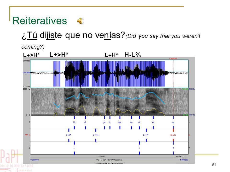 60 Wh-questions (2) ¿De dónde vienes? L+>H* H+L* L-L% (Where do you come from?)  