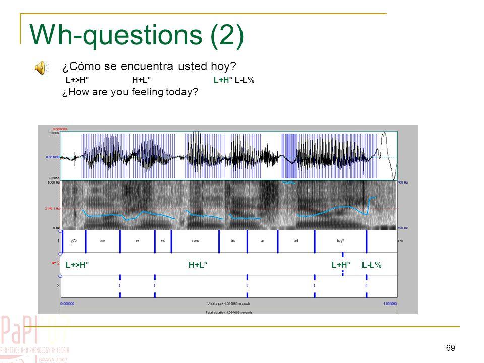 68 Wh-questions (1) (= read data) L+>H* H+L* H+L* L-L% ¿Cómo se encuentra ahora.