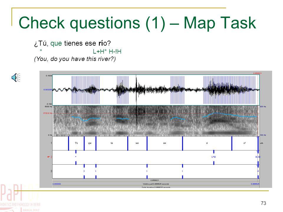 72 Confirmation-seeking questions (checks) pue de L*+H L+>H* L+>H* H-H% ¿Puede ser, eh, mas abajo de las rocas.
