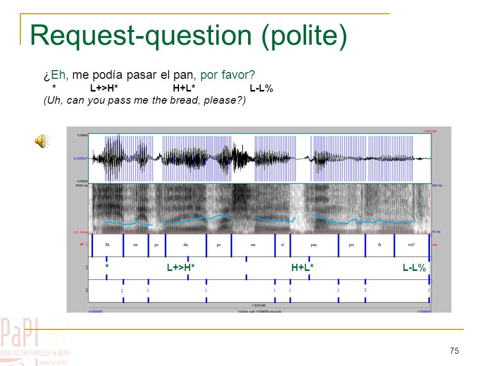 74 Check questions (2) – Map Task ¿Tú me puedes decir algo L+H* L-L% (Can you tell me something )