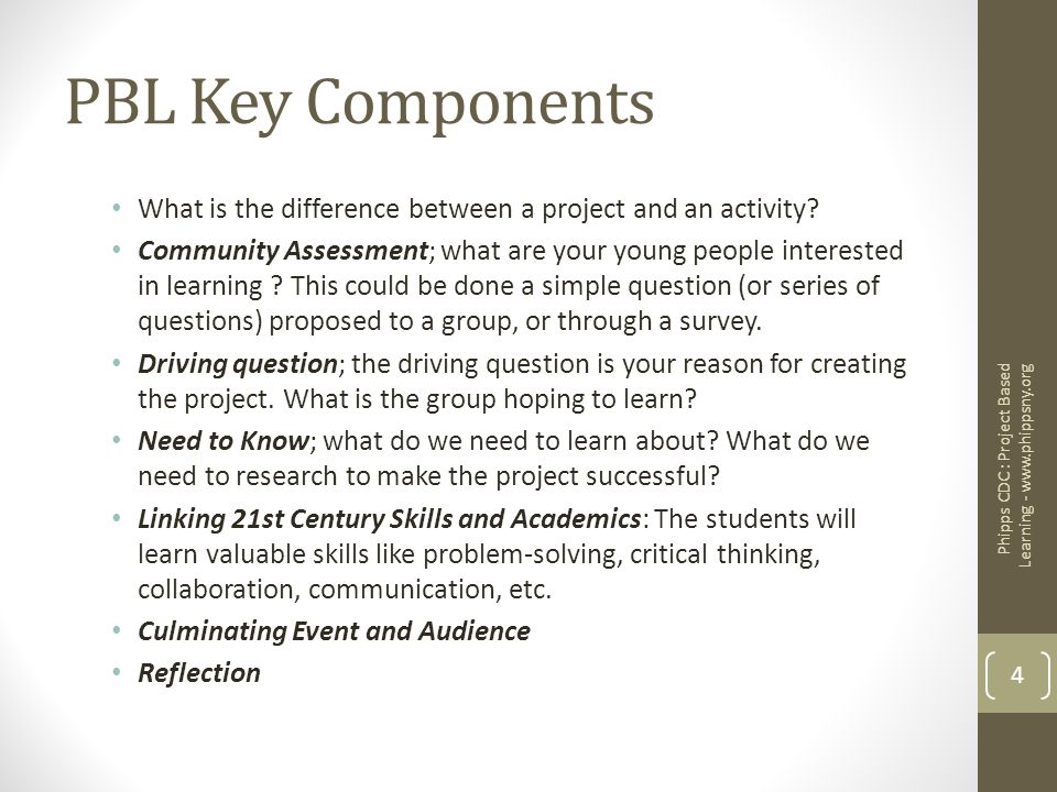 PBL Key Components What is the difference between a project and an activity? Community Assessment; what are your young people interested in learning ?