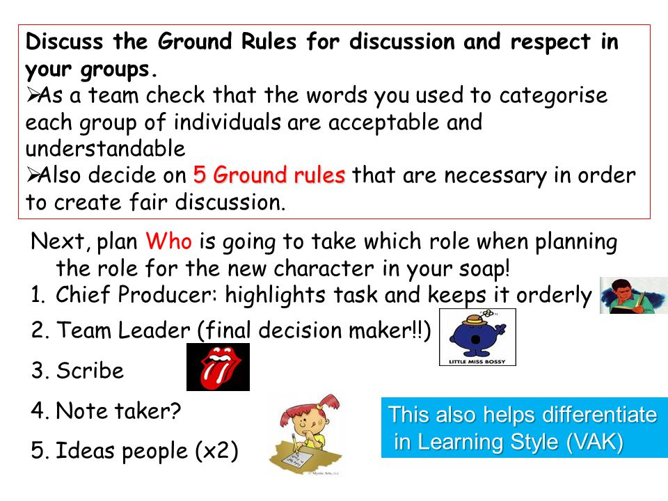 Discuss the Ground Rules for discussion and respect in your groups.