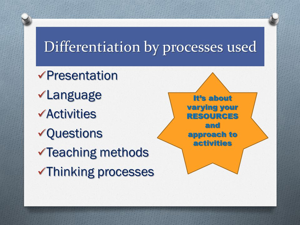 Differentiation by processes used Presentation Language Activities Questions Teaching methods Thinking processes It's about varying your RESOURCES and approach to activities