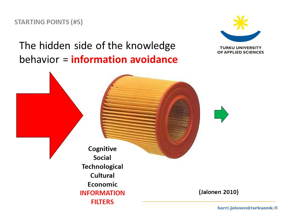 harri.jalonen@turkuamk.fi The hidden side of the knowledge behavior = information avoidance (Jalonen 2010) Cognitive Social Technological Cultural Economic INFORMATION FILTERS STARTING POINTS (#5)