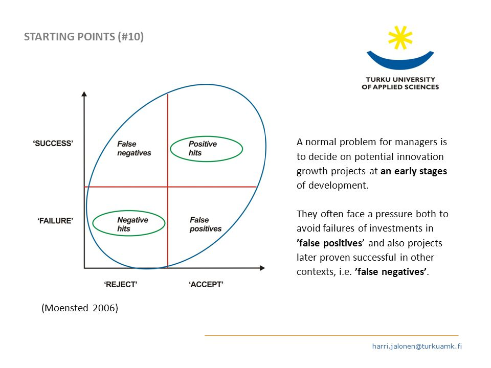 harri.jalonen@turkuamk.fi (Moensted 2006) STARTING POINTS (#10) A normal problem for managers is to decide on potential innovation growth projects at an early stages of development.