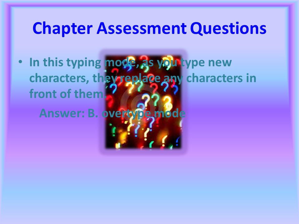Chapter Assessment Questions When you type a document in a word- processing program, how many blank space(s) should you insert between sentences? Answ