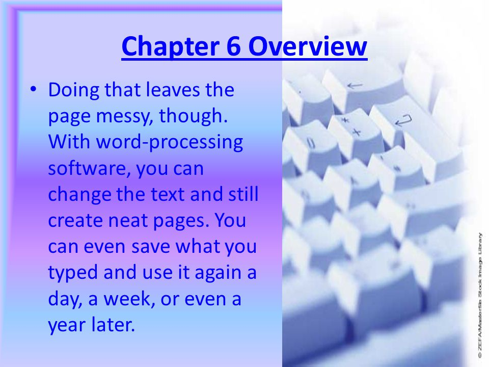 Chapter 6 Overview Doing that leaves the page messy, though.