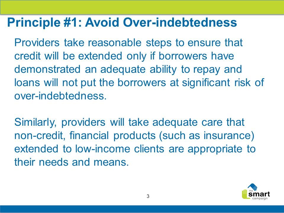 3 Providers take reasonable steps to ensure that credit will be extended only if borrowers have demonstrated an adequate ability to repay and loans will not put the borrowers at significant risk of over-indebtedness.