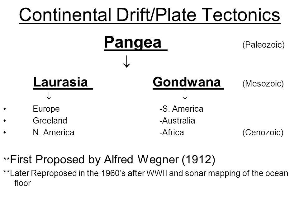 Continental Drift/Plate Tectonics Pangea (Paleozoic)  LaurasiaGondwana (Mesozoic)  Europe -S.