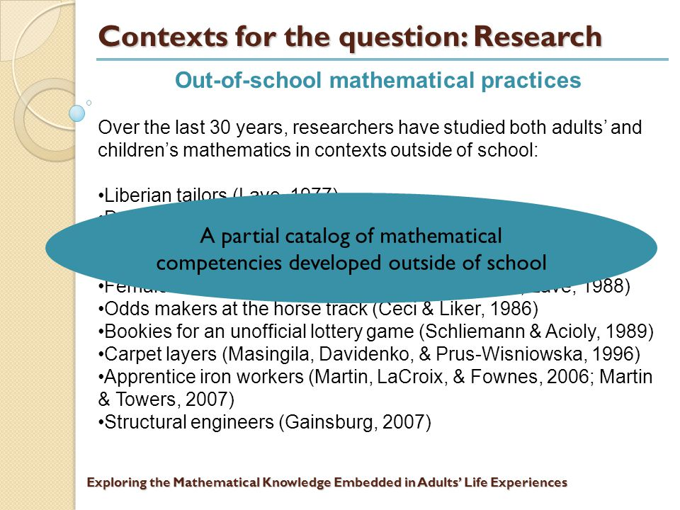 Exploring the Mathematical Knowledge Embedded in Adults' Life Experiences Contexts for the question: Research Out-of-school mathematical practices Over the last 30 years, researchers have studied both adults' and children's mathematics in contexts outside of school: Liberian tailors (Lave, 1977) Dairy workers (Scribner, 1984) Young street vendors in Brazil (Carraher, Carraher, & Schliemann, 1985) Female shoppers in the US (Capon & Kuhn, 1979; Lave, 1988) Odds makers at the horse track (Ceci & Liker, 1986) Bookies for an unofficial lottery game (Schliemann & Acioly, 1989) Carpet layers (Masingila, Davidenko, & Prus-Wisniowska, 1996) Apprentice iron workers (Martin, LaCroix, & Fownes, 2006; Martin & Towers, 2007) Structural engineers (Gainsburg, 2007)