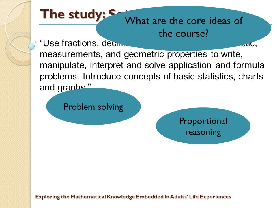 Exploring the Mathematical Knowledge Embedded in Adults' Life Experiences The study: Setting The students participating in the study are enrolled in Basic Mathematics at a community college in an urban setting.