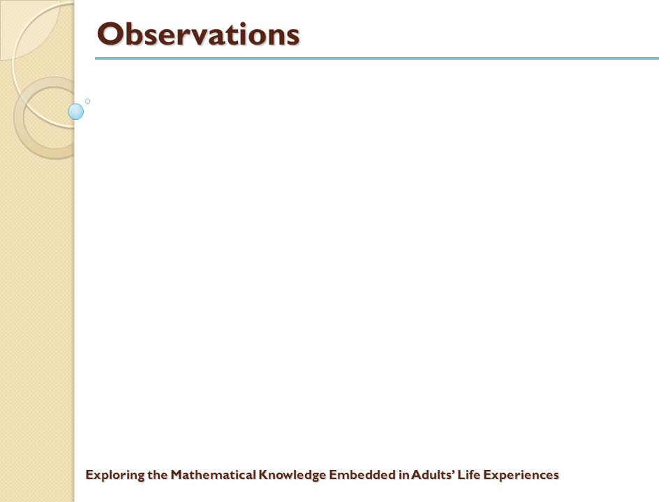 Exploring the Mathematical Knowledge Embedded in Adults' Life Experiences Students' written work on The Wage Problem Page 8 of the submitted work with computational support on pages 9 and 10.