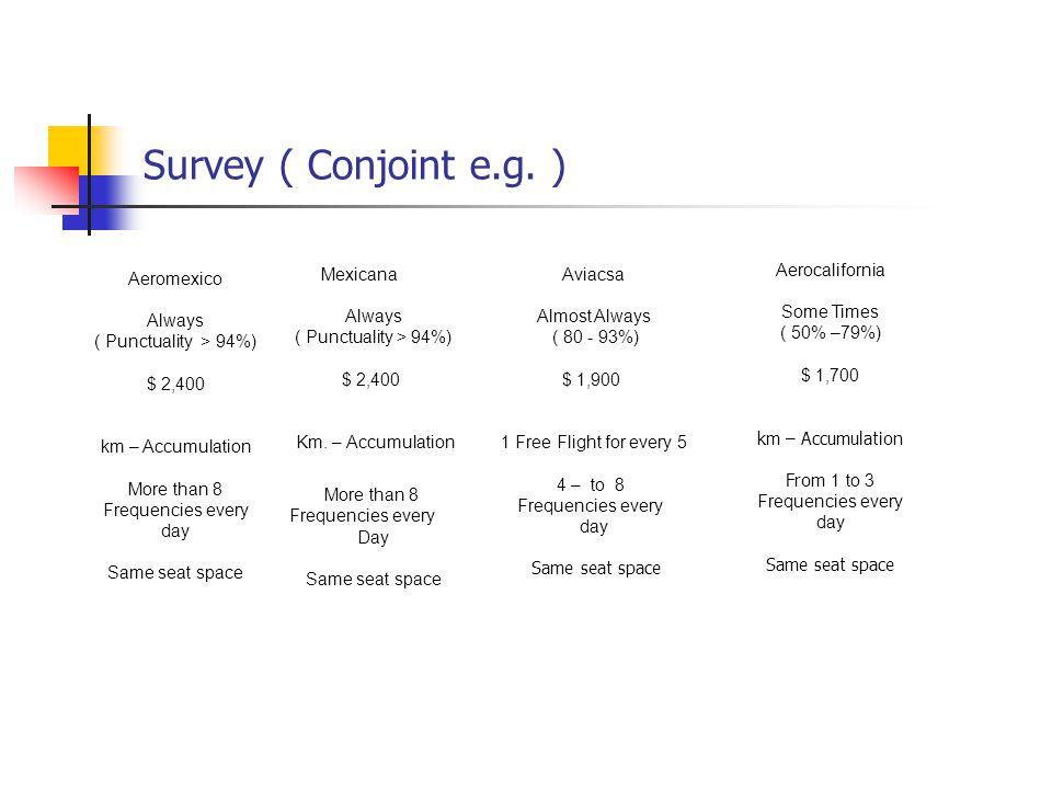 Survey ( Conjoint e.g.
