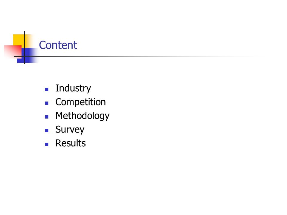 Content Industry Competition Methodology Survey Results