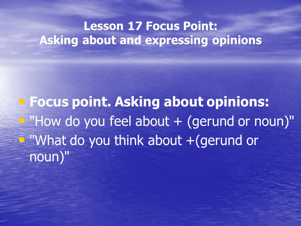 Lesson 17 Focus Point: Asking about and expressing opinions Focus point. Asking about opinions: