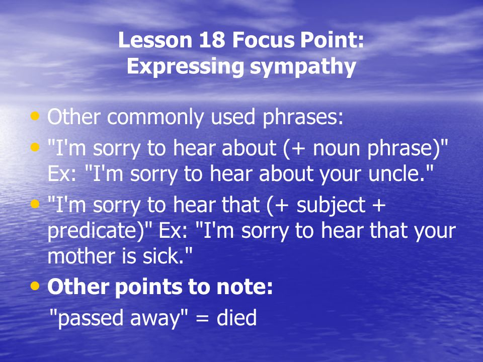 Lesson 18 Focus Point: Expressing sympathy Other commonly used phrases:
