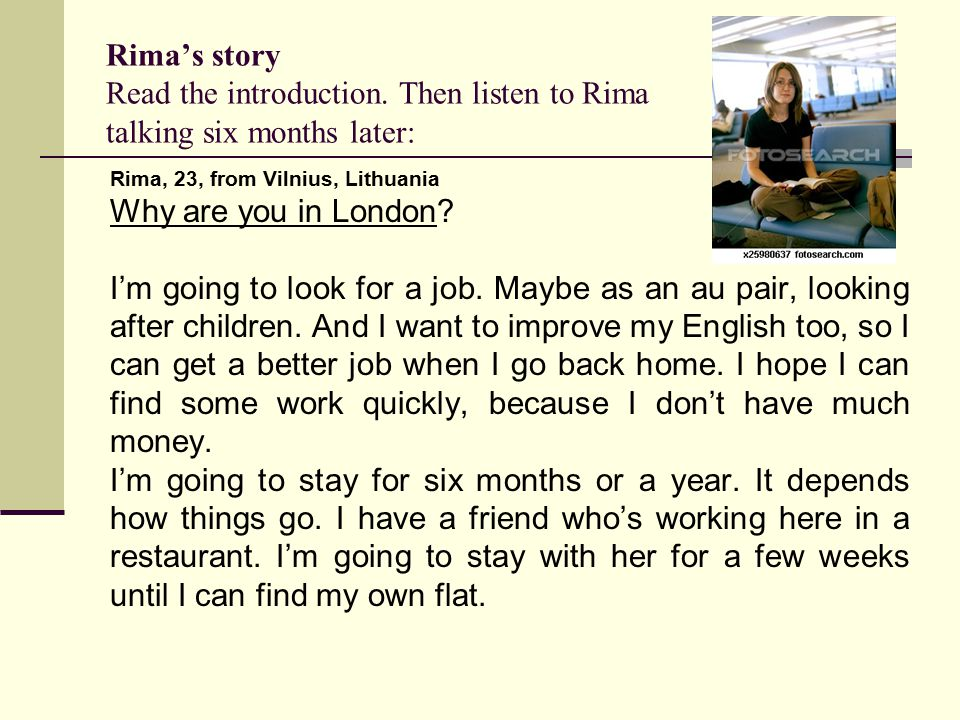Rima's story Read the introduction.