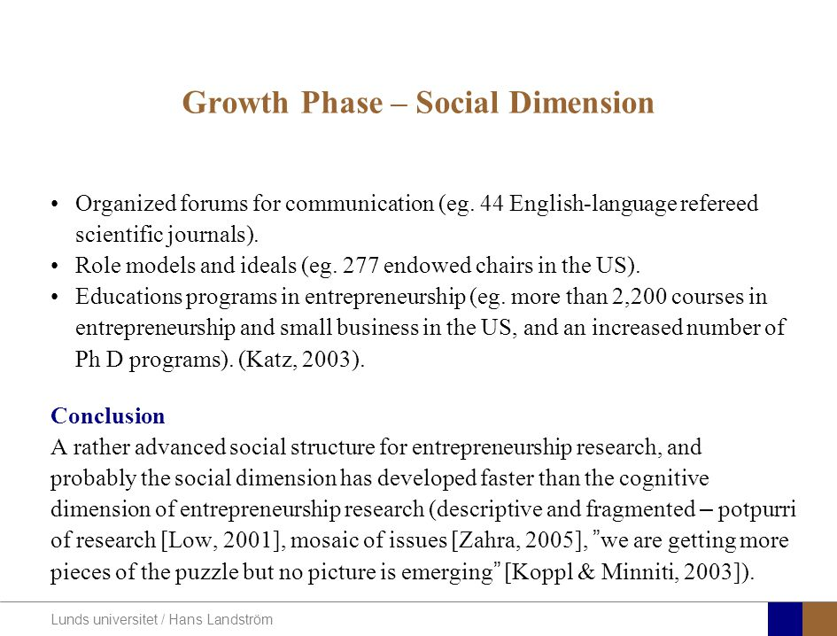 Lunds universitet / Hans Landström Growth Phase – Social Dimension Organized forums for communication (eg. 44 English-language refereed scientific jou