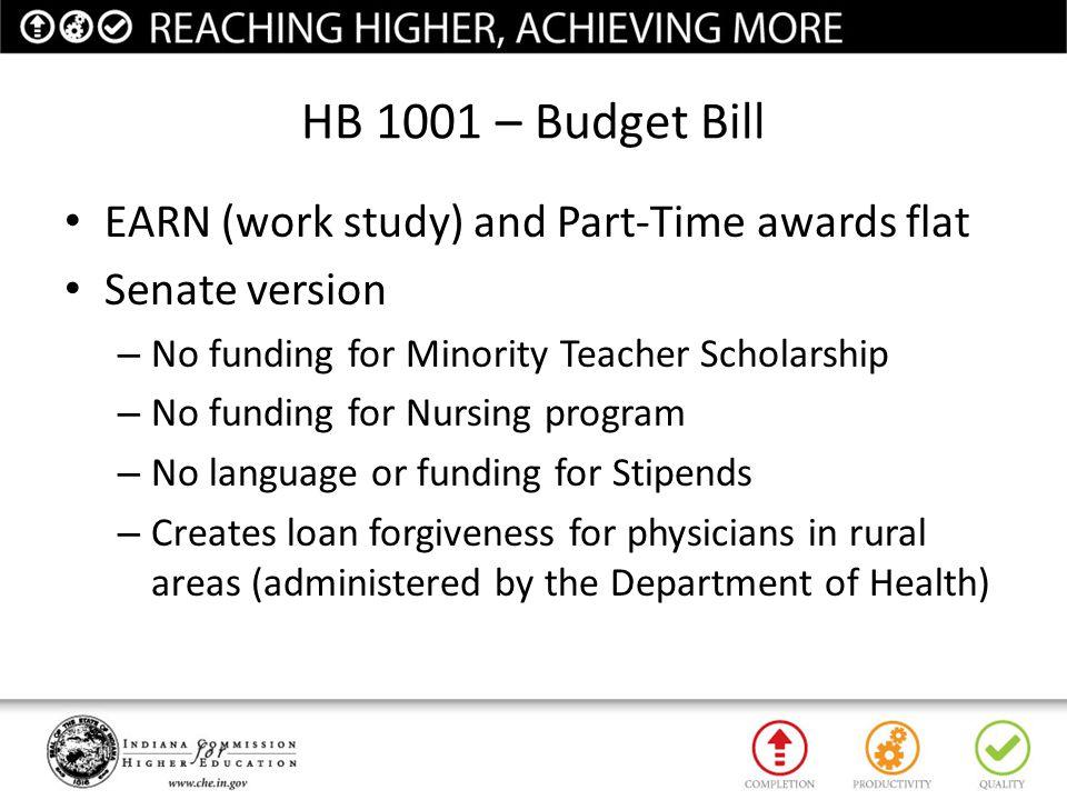 HB 1001 – Budget Bill EARN (work study) and Part-Time awards flat Senate version – No funding for Minority Teacher Scholarship – No funding for Nursin