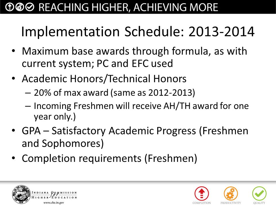 Implementation Schedule: 2013-2014 Maximum base awards through formula, as with current system; PC and EFC used Academic Honors/Technical Honors – 20%