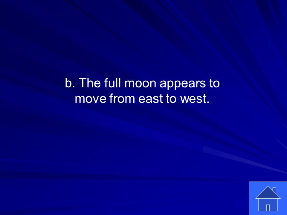 15 b. The full moon appears to move from east to west.
