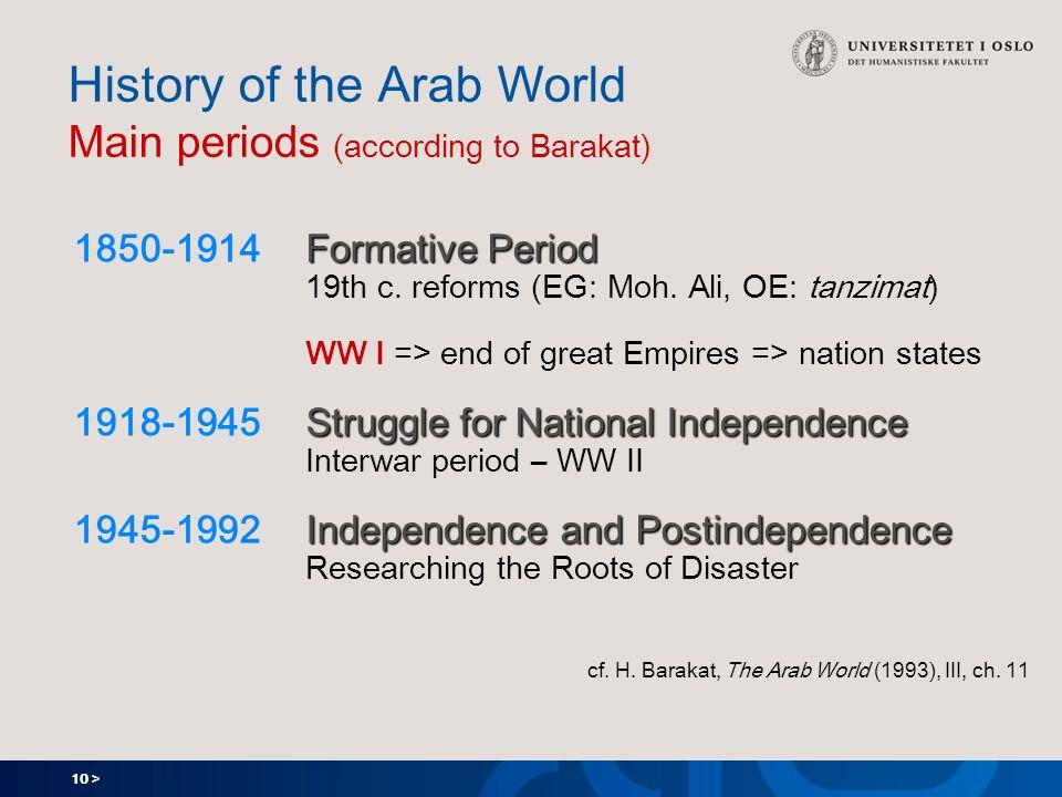 10 > History of the Arab World Main periods (according to Barakat) Formative Period 1850-1914 Formative Period 19th c.