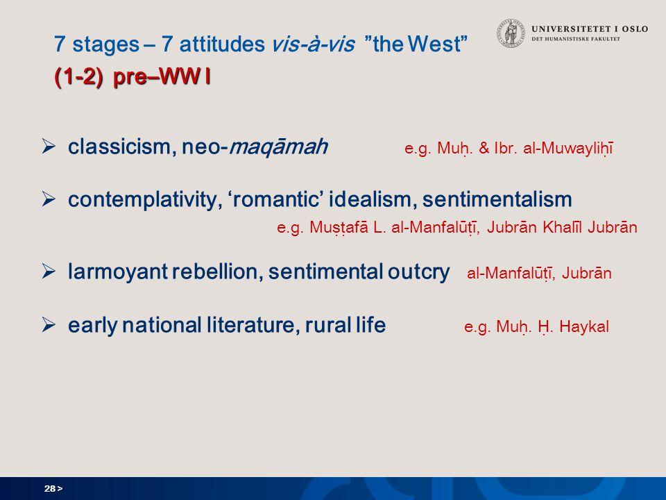28 > (1-2) pre–WW I 7 stages – 7 attitudes vis-à-vis the West (1-2) pre–WW I  classicism, neo-maqāmah e.g.