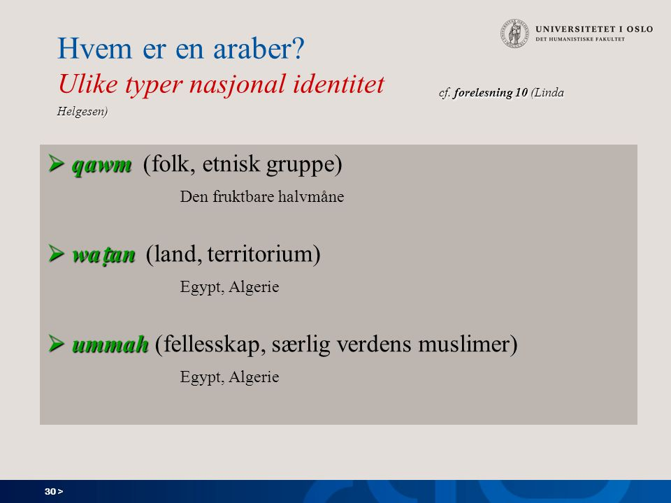 30 > cf. forelesning 10 (Linda Helgesen) Hvem er en araber.