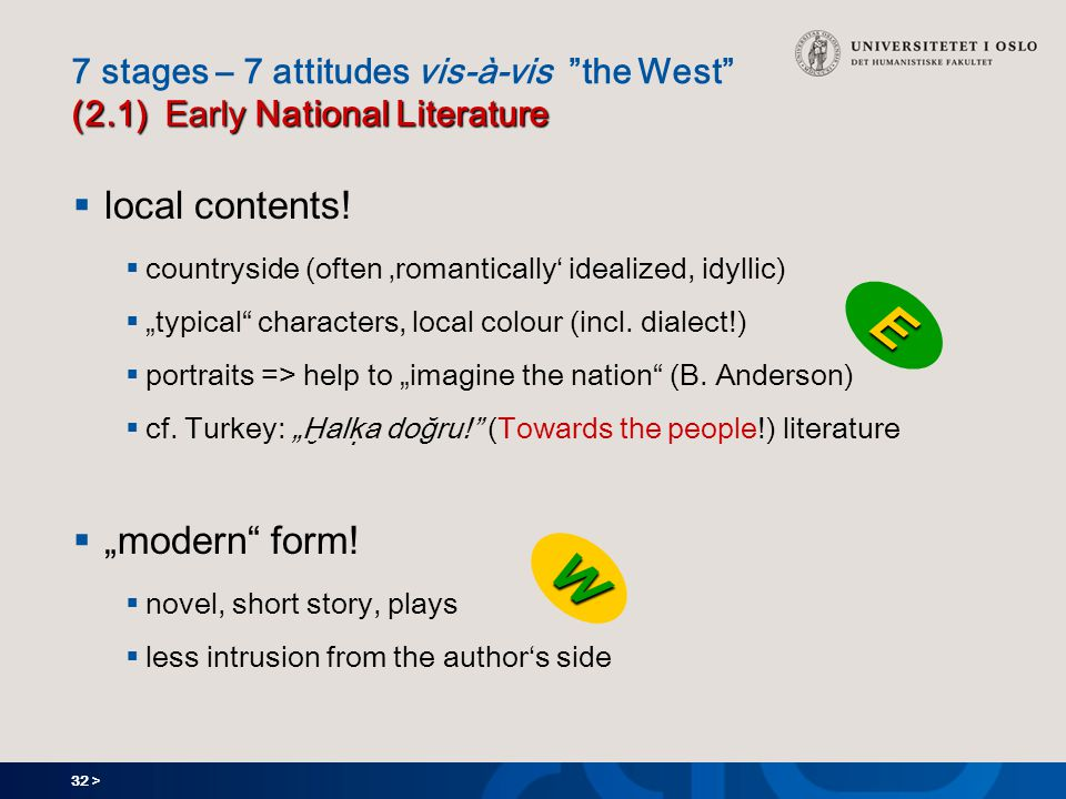 32 > (2.1) Early National Literature 7 stages – 7 attitudes vis-à-vis the West (2.1) Early National Literature  local contents.
