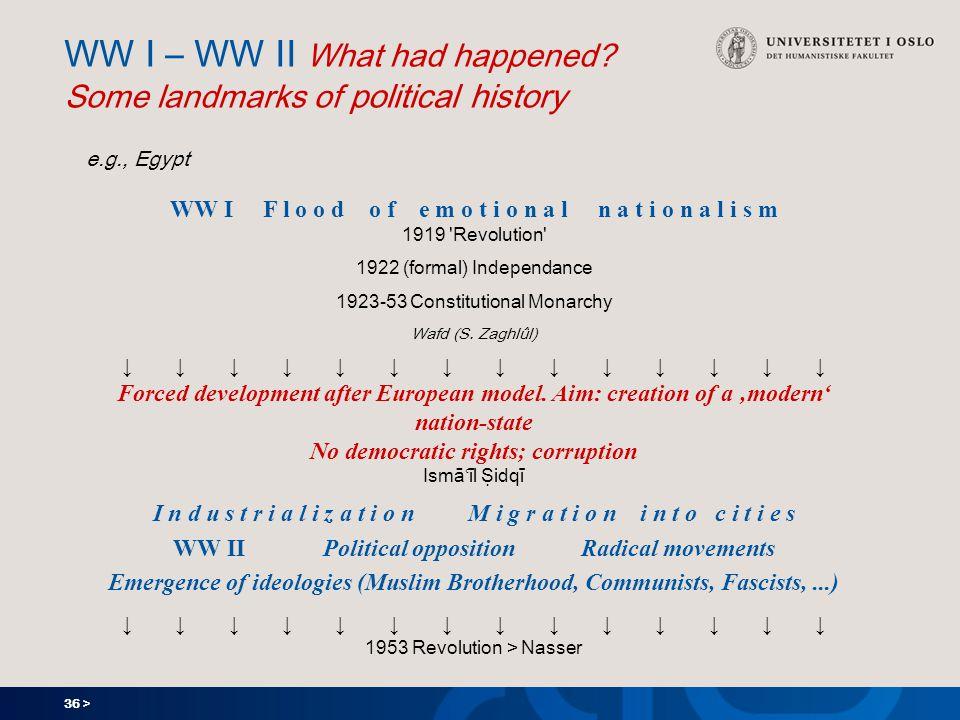 36 > WW I – WW II What had happened.