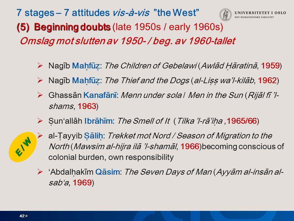 42 > (5) Beginning doubts 7 stages – 7 attitudes vis-à-vis the West (5) Beginning doubts (late 1950s / early 1960s) Omslag mot slutten av 1950- / beg.