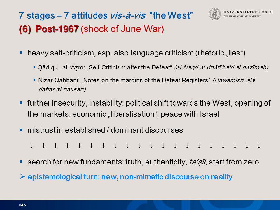 44 > (6) Post-1967 7 stages – 7 attitudes vis-à-vis the West (6) Post-1967 (shock of June War)  heavy self-criticism, esp.