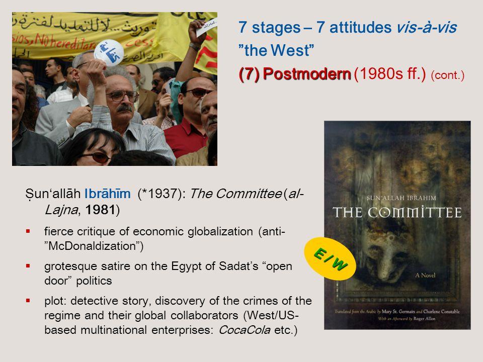 "Ṣun'allāh Ibrāhīm (*1937): The Committee (al- Lajna, 1981)  fierce critique of economic globalization (anti- ""McDonaldization"")  grotesque satire on"