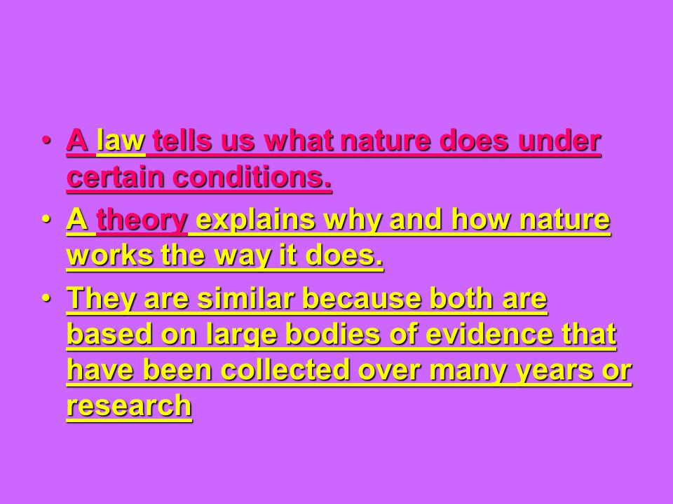 A law tells us what nature does under certain conditions.A law tells us what nature does under certain conditions. A theory explains why and how natur
