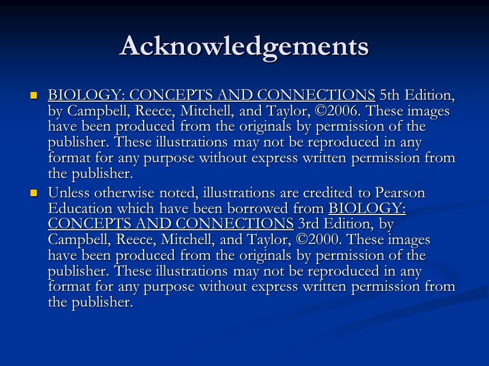 Acknowledgements BIOLOGY: CONCEPTS AND CONNECTIONS 5th Edition, by Campbell, Reece, Mitchell, and Taylor, ©2006. These images have been produced from