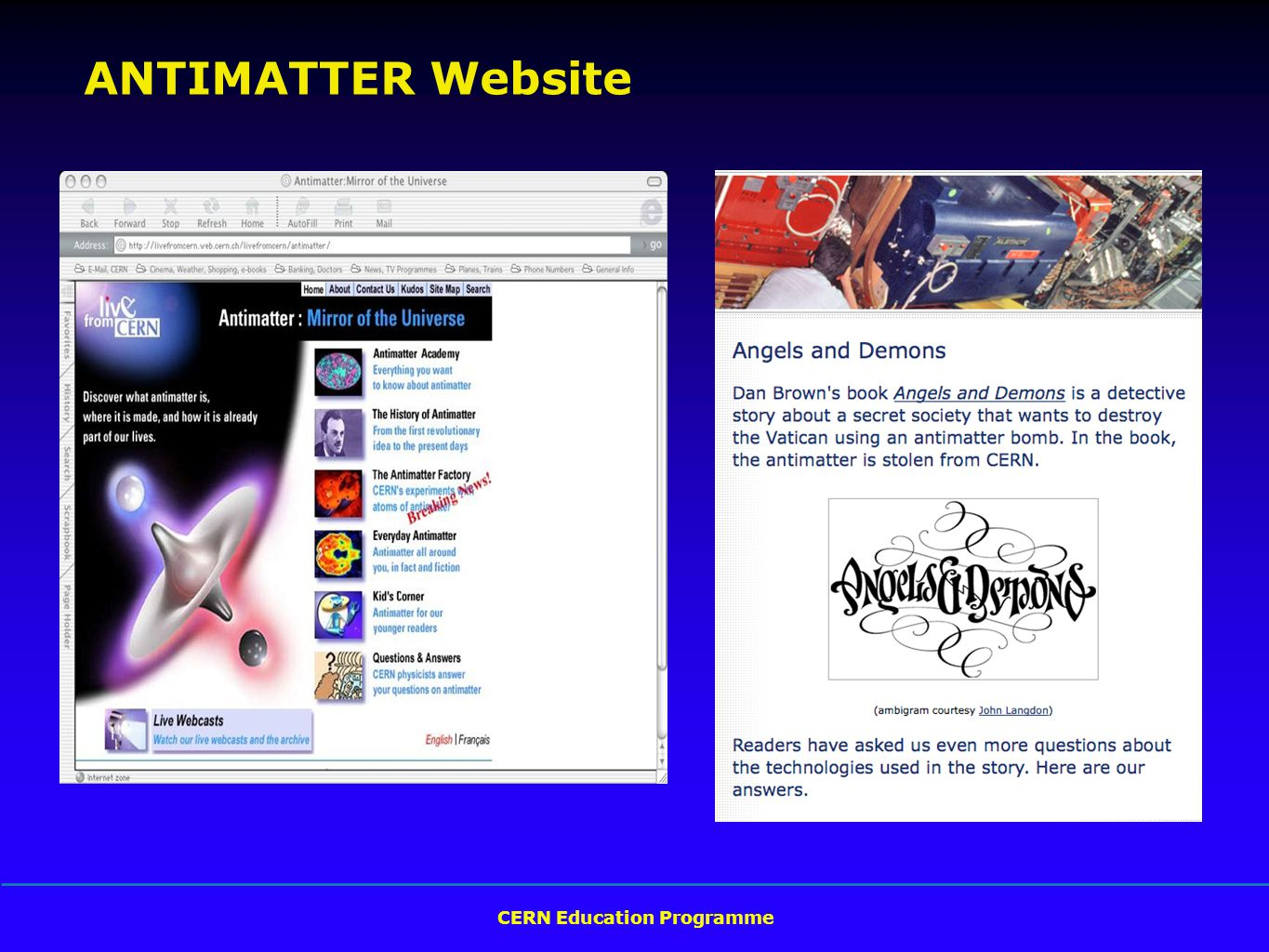 CERN Education Programme ANTIMATTER Website
