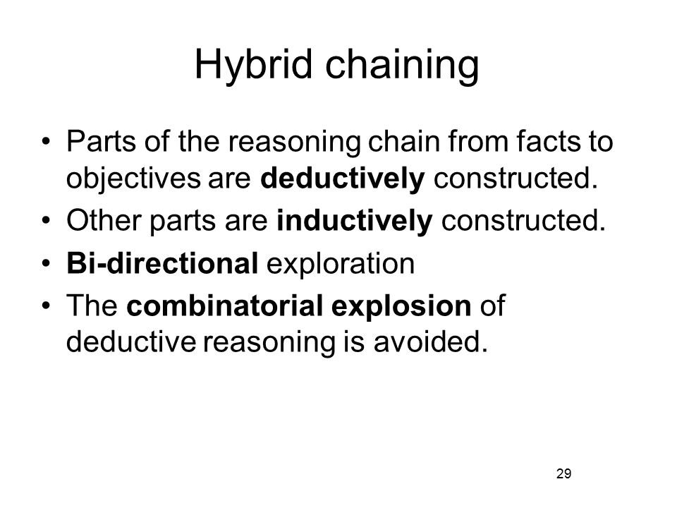 Hybrid chaining Parts of the reasoning chain from facts to objectives are deductively constructed.