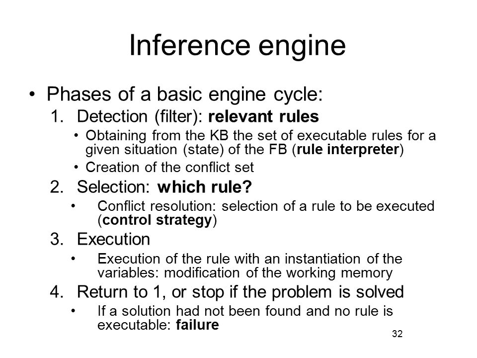 Inference engine Phases of a basic engine cycle: 1.Detection (filter): relevant rules Obtaining from the KB the set of executable rules for a given situation (state) of the FB (rule interpreter) Creation of the conflict set 2.Selection: which rule.