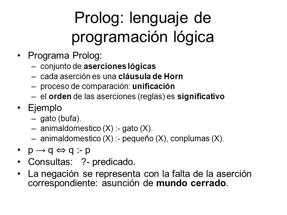 Prolog: lenguaje de programación lógica Programa Prolog: –conjunto de aserciones lógicas –cada aserción es una cláusula de Horn –proceso de comparación: unificación –el orden de las aserciones (reglas) es significativo Ejemplo –gato (bufa).