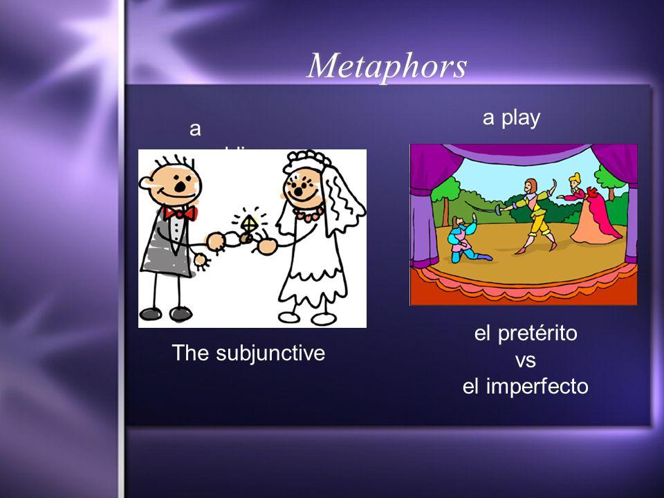 Metaphors a wedding a play The subjunctive el pretérito vs el imperfecto