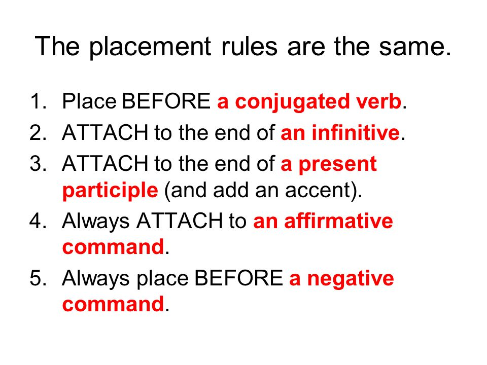 The placement rules are the same. 1.Place BEFORE a conjugated verb. 2.ATTACH to the end of an infinitive. 3.ATTACH to the end of a present participle