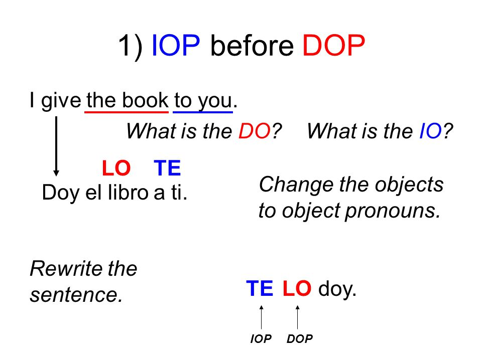 1) IOP before DOP I give the book to you. What is the DO.